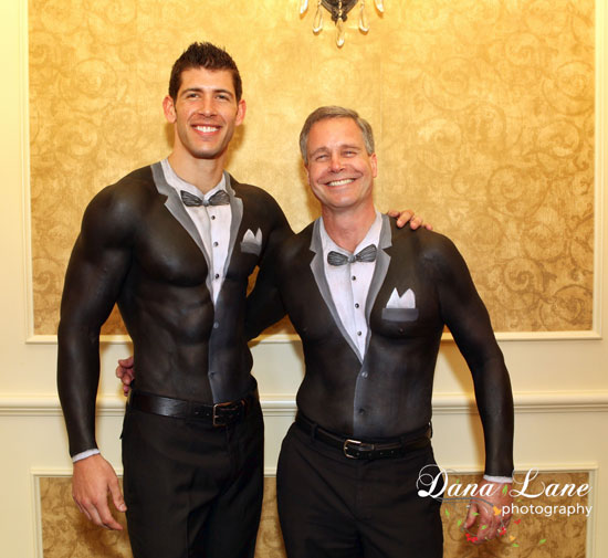 Body painted tuxedo jackets