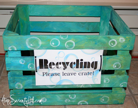Recyling container out of crate • AtopSerenityHill.com