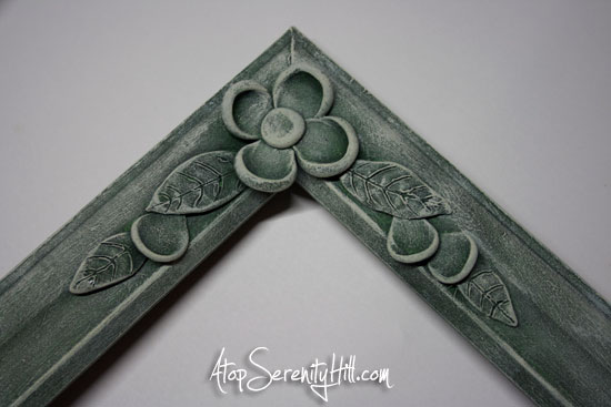 drybrushed clay flowers and wood frame • AtopSerenityHill.com