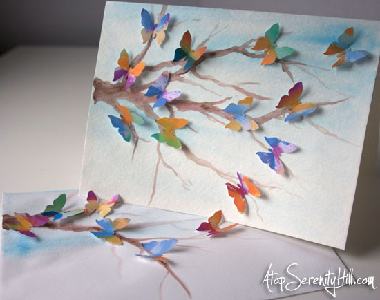 How to make a watercolor dimensional butterfly greeting card • AtopSerenityHill.com #greetingcard #butterflies