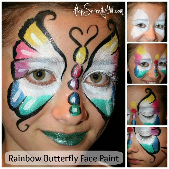 Tutorial to create a beautiful Rainbow Butterfly Face Paint • AtopSerenityHill.com #birthdayparty #facepainting