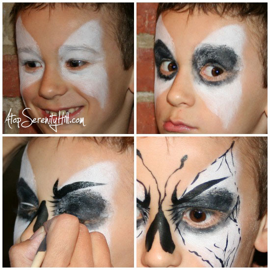 Butterfly face painting for boys • AtopSerenityHill.com