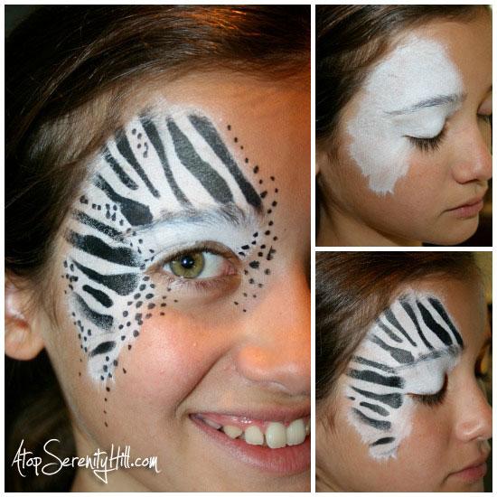 zebrastencilfacepaintCollage