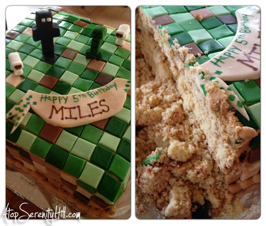 Minecraft cake with fondant characters • AtopSerenityHill.com
