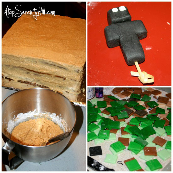 making a Minecraft birthday cake • AtopSerenityHill.com