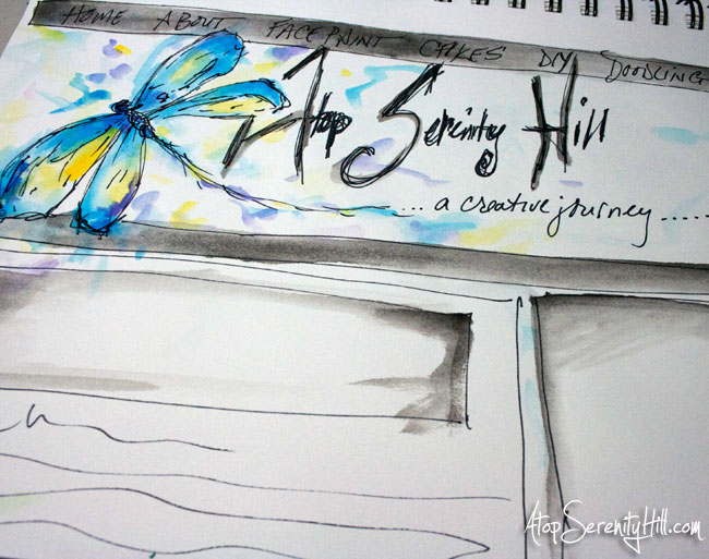 Dragonfly doodle with watercolor and sharpie • AtopSerenityHill.com
