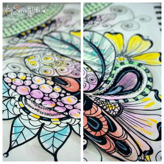 Watercolor and Sharpie doodles • AtopSerenityHill.com