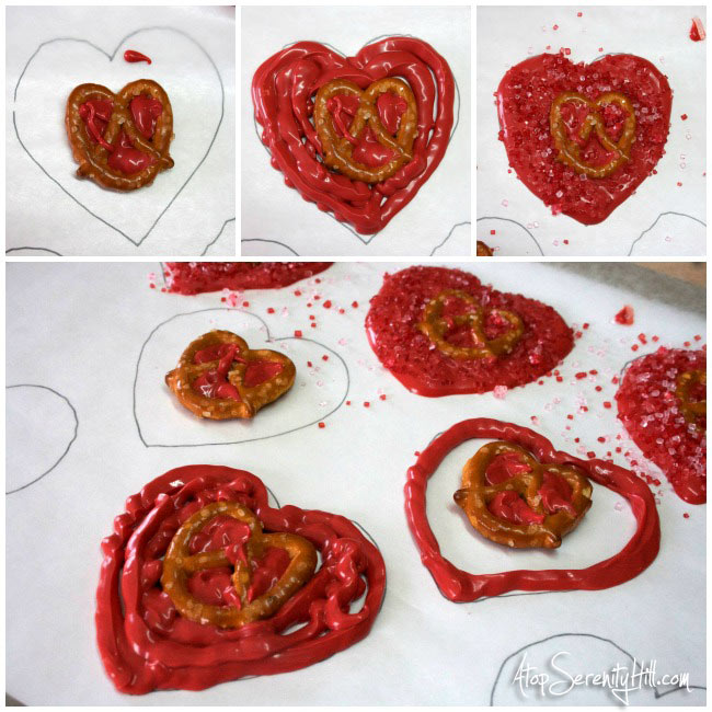 Chocolate hearts w/pretzel twists...a sweet and salty Valentine! • AtopSerenityHill.com #valentinesday #dessert #chocolate