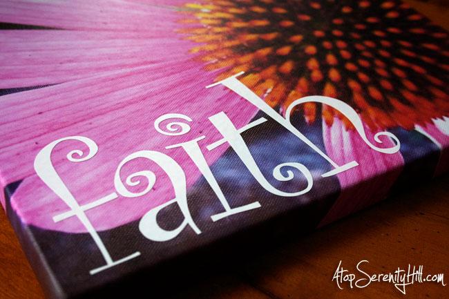 One little word • FAITH • AtopSerentiyHill.com #canvasprint #vinyllettering