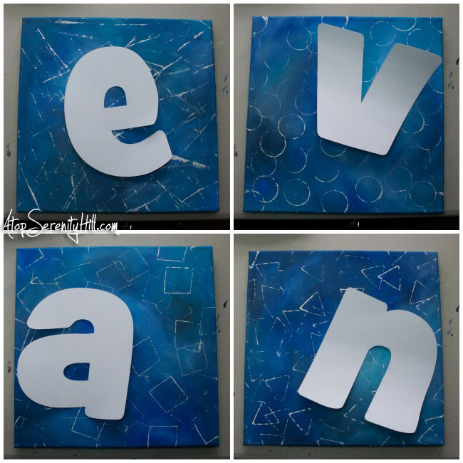 DIY painted letters on canvas • AtopSerenityHill.com #monogram #letters #diy