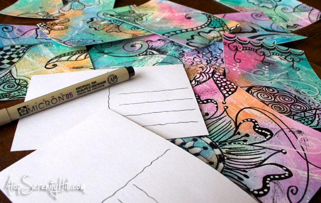 Mail art postcards using watercolor and doodling • AtopSerenityHill.com