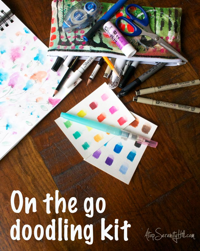 On the go doodling kit includes Micron pens, Sharpies, watercolor and other sketching supplies! • AtopSerenityHill.com #doodling #sharpie #sketching
