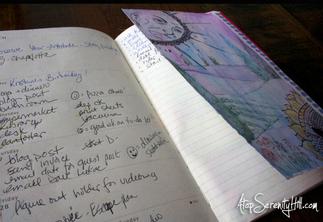 A creative way to keep a to do list with the Documented Life Project • AtopSerenityHill.com #doodling #documentedlife #sketchbook #moleskine