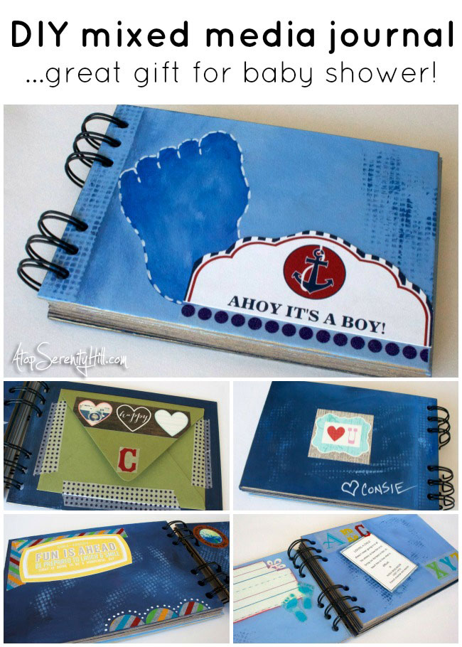 Mixed media DIY baby journal...great for a shower gift! • AtopSerenityHill.com #mixedmedia #babyshower #artjournal
