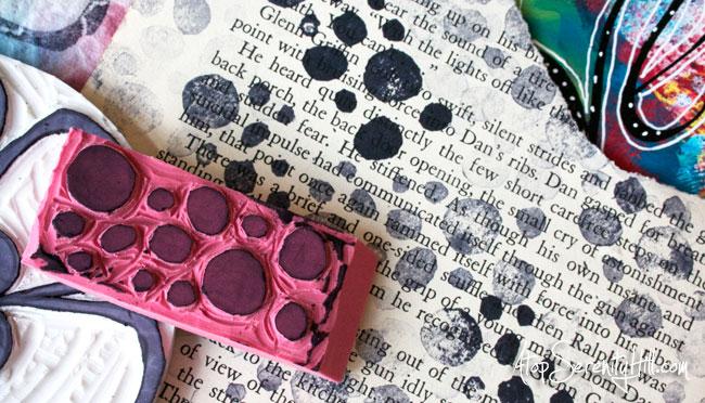 DIY hand carved eraser rubber stamps • AtopSerenityHill.com #eraserstamps #rubberstamps #speedball