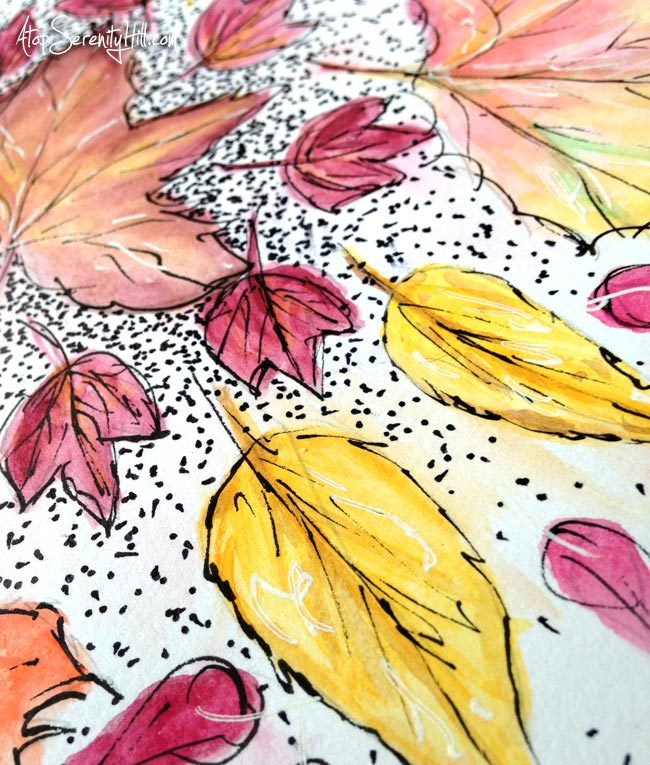Fall leaves mandala using watercolor and ink • AtopSerenityHill.com #watercolor #fall #mandala