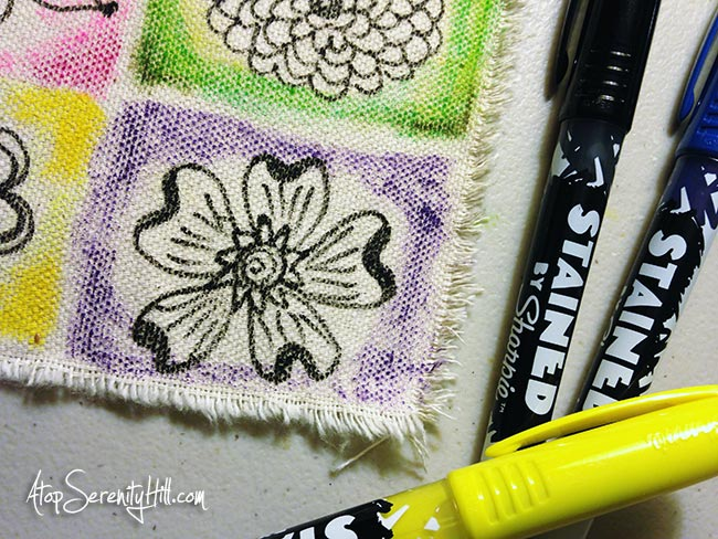Faux mini quilt made from canvas, fabric markers, Inktense pencils and a sewing machine...quick and easy! • AtopSerenityHill.com #documentedlife #quilt #doodling #artjournal