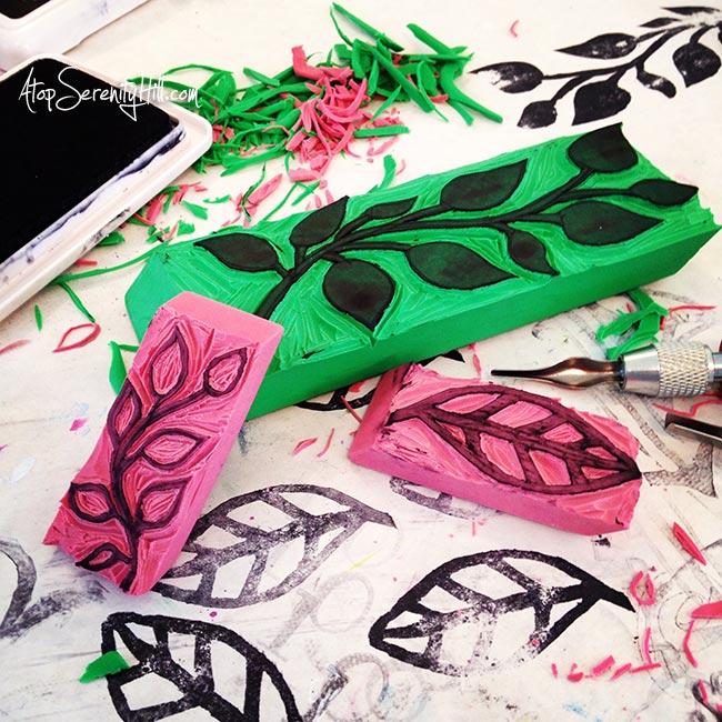 Hand carved eraser stamps • AtopSerenityHill.com #carvedecember #stamps #artjournal