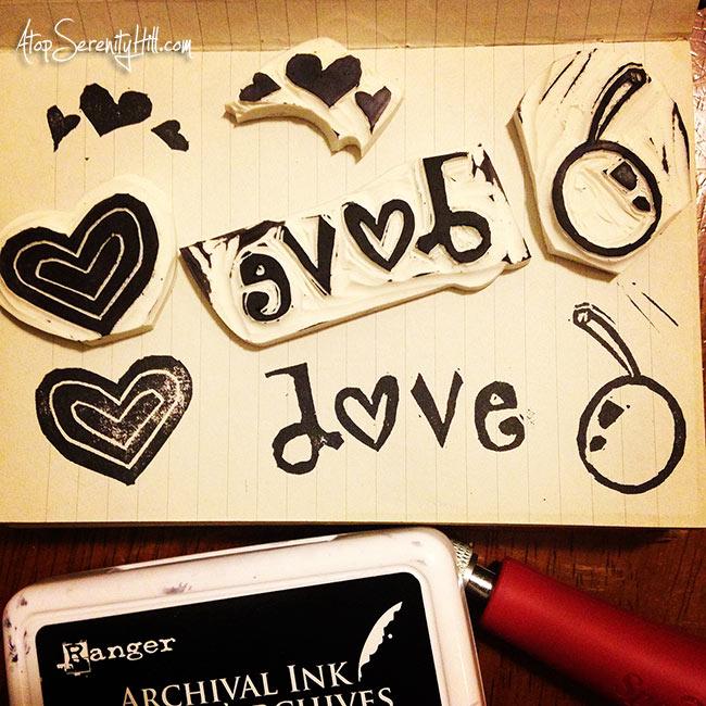 Hand carved rubber stamps from dollar store erasers • AtopSerenityHill.com #carvedecember #handcarvedstamps #artjournal
