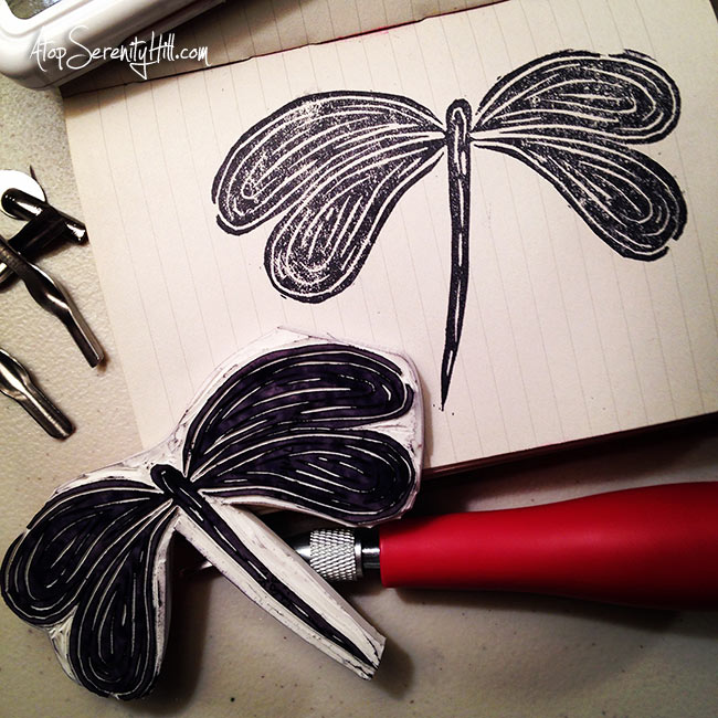 Hand carved rubber stamps from dollar store erasers • dragonfly • AtopSerenityHill.com #carvedecember #handcarvedstamps #artjournal