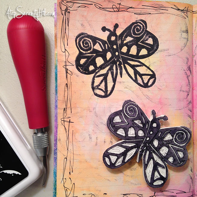 Hand carved rubber stamps from dollar store erasers • tribal butterfly• AtopSerenityHill.com #carvedecember #handcarvedstamps #artjournal