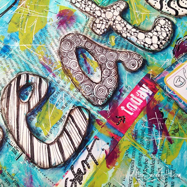 One little word for 2015: Create. Art journal page using prompt from the Documented Life Project 2015 • AtopSerenityHill.com #documentedlife #artjournal #olw