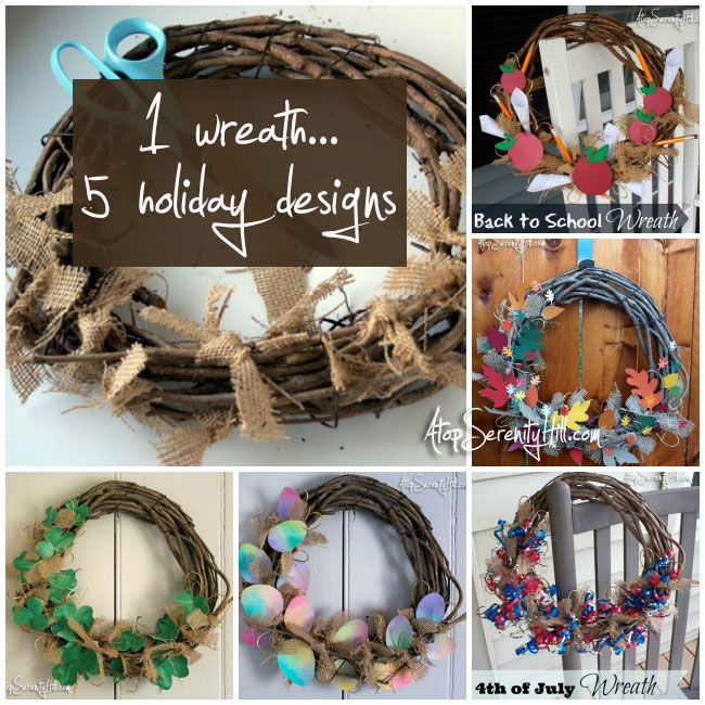 1 wreath...5 holiday designs. Take a single burlap and grapevine wreath base and design any number of holiday creations! • AtopSerenityHill.com #holiday #wreaths #homedecor