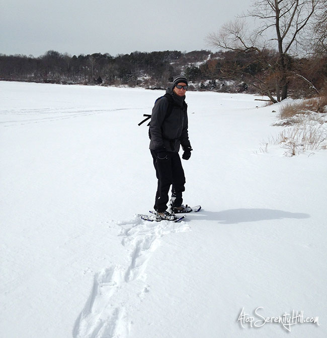 Snowshoeing at a local reservoir in NJ • AtopSerenityHill.com