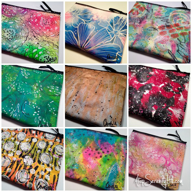 Handpainted canvas zippered pouches for sale in my Etsy shop! Vist the blog for more info... • AtopSerenityHill.com #mixedmedia #makeupbag #handpainted