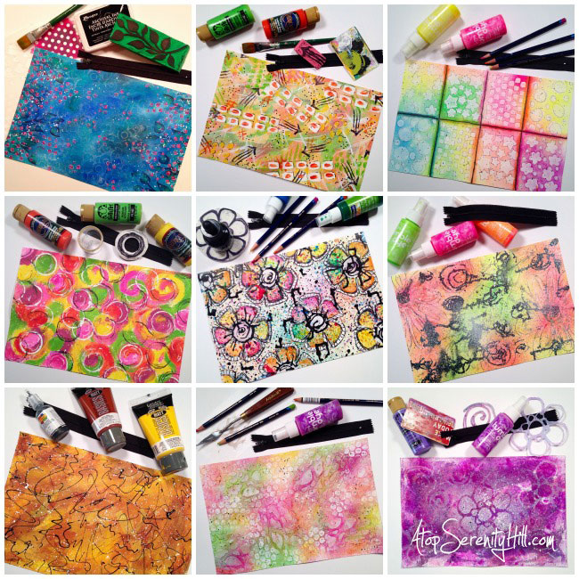 Handpainted canvas zippered pouches • AtopSerenityHill.com #mixedmedia #makeupbag #handpainted