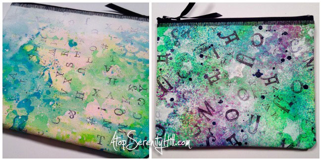 Handpainted zipper pouches embellished with a DIY jumbled alphabet stamp; create to use in your art journals, card making and mixed media projects! • AtopSerenityHill.com #alphabetstamp #artjournal #mixedmedia