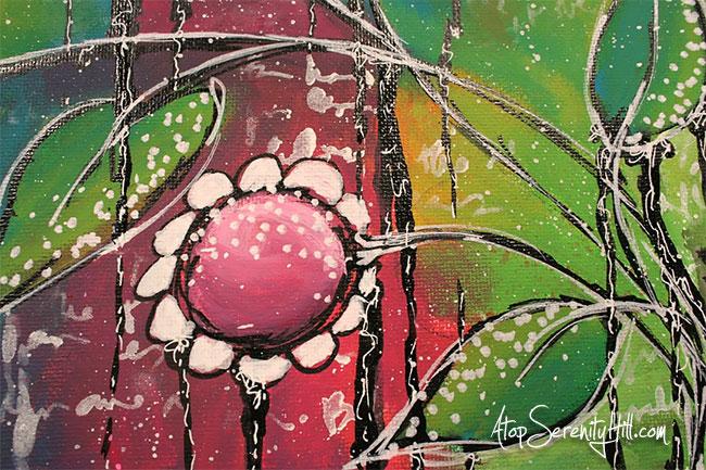 Mixed media canvas by AtopSerenityHill.com #acrylic #mixedmedia #art