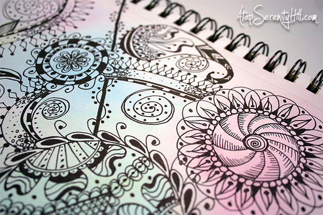 Mandalas and doodling as a stress reliever! A peek inside my sketchbook at AtopSerenityHill.com #sketchbook #mandala #doodling