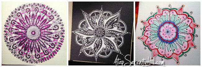 Collection of mandalas drawn for the #InkTober challenge • AtopSerenityHill.com #mandala #artjournal #inktober