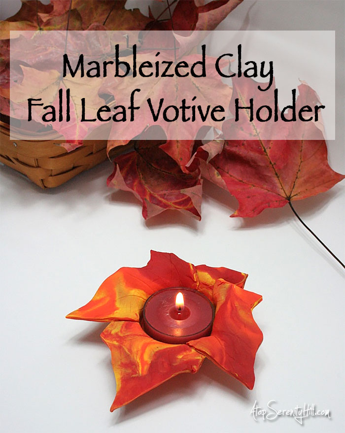 Mableized clay fall leaf votive holder perfect for holiday decorating • AtopSerenityHill.com #falldecor #candle #clay