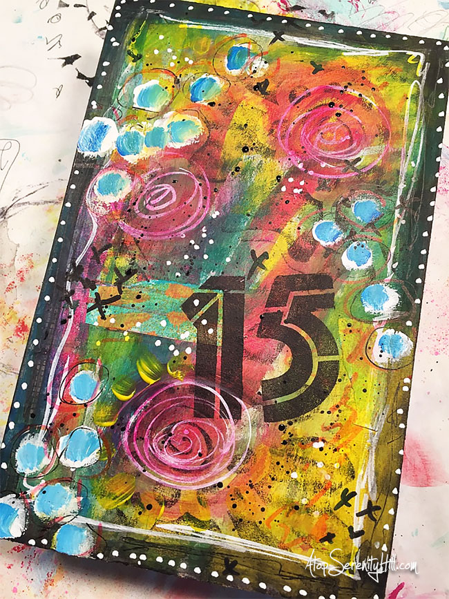 Time in my art journal: a process mixed media video creating for 15 minutes on AtopSerenityHill.com