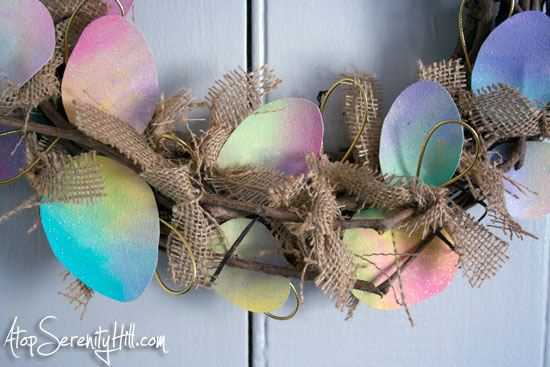 Tie-dyed canvas Easter eggs and burlap wreath • AtopSerenityHill.com