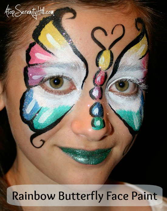 Rainbow Butterfly Face Paint • AtopSerenityHill.com