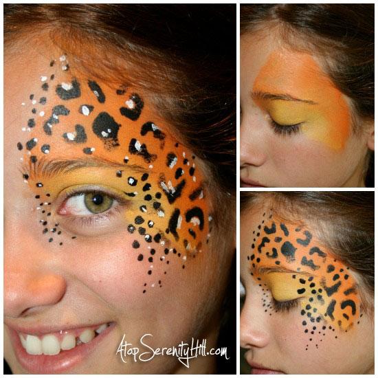 cheetahstencilfacepaintCollage
