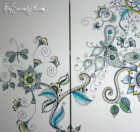 Henna-inspired doodled cabinet • Atop Serenity Hill @TheWriteDudes #infinitymarkers