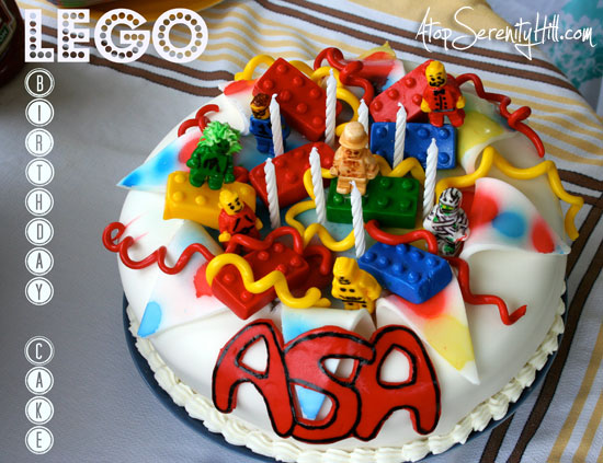 Create a fun, creative Lego cake for your next party! • AtopSerenityHill.com #dessert #birthdayparty #lego