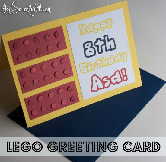 How to make a Lego greeting card for a fun birthday addition!• AtopSerenityHill.com #greetingcard #lego #birthdayparty