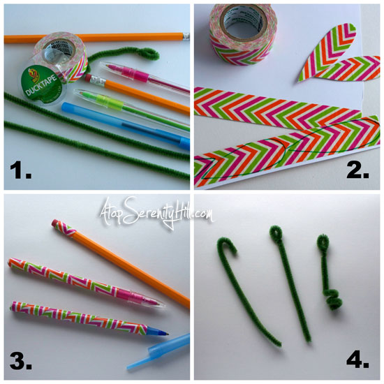 pen, pencil, pipe cleaner, duck tape