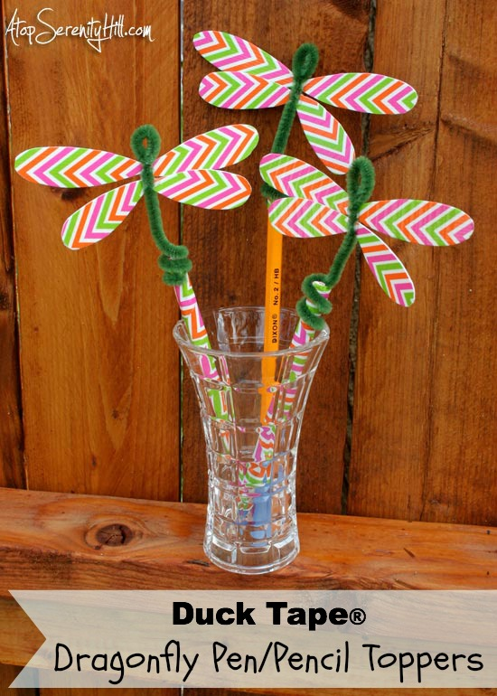 Duck Tape dragonfly pen and pencil topper