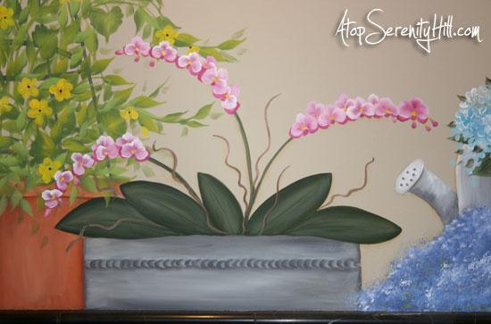 pinkorchidsgardenmural