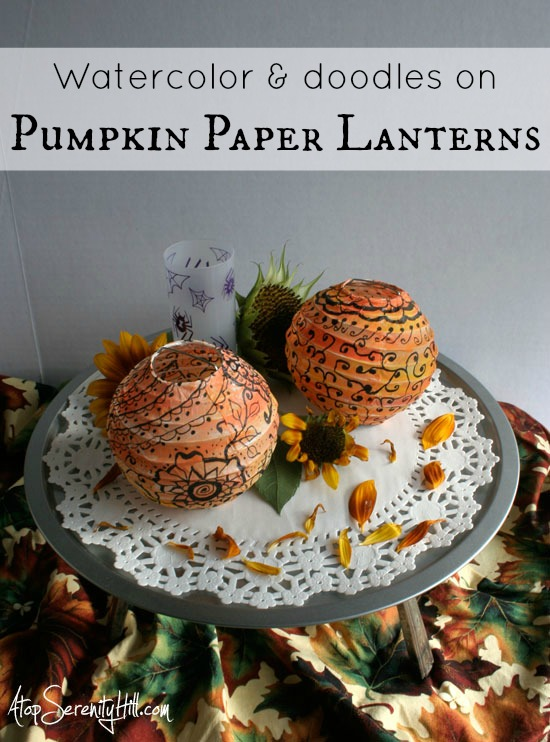 watercolordoodledpumpkinpaperlanterns