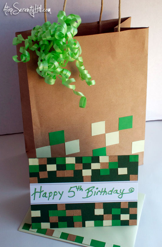Minecraft gift bag and greeting card • AtopSerenityHill.com