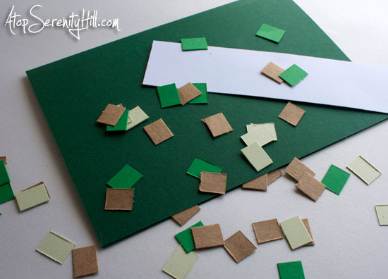 Minecraft card made with green and brown cardstock • AtopSerentiyHill.com