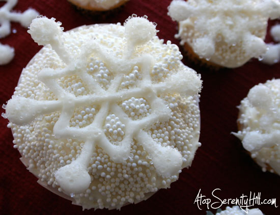 Glittery Chocolate Snowflake Cupcake Toppers • AtopSerenityHill.com #cupcake #dessert #holiday