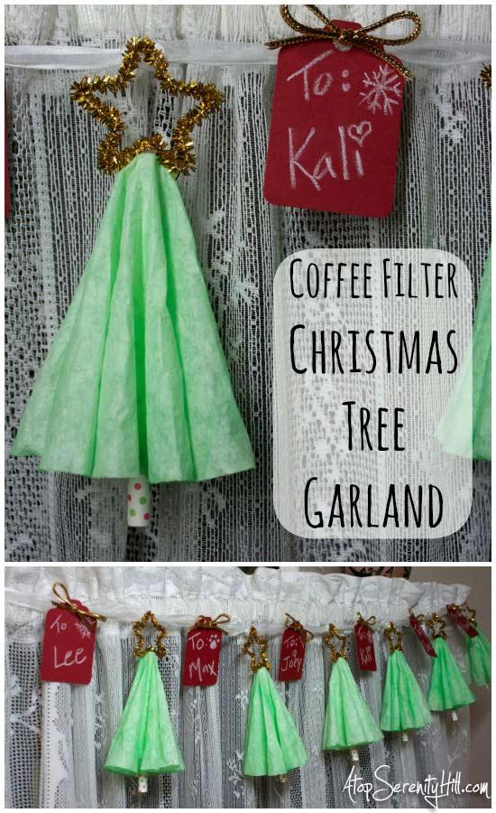 Coffee filter Christmas tree garland • AtopSerenityHill.com #christmas #garland #holiday